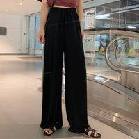 Negro gasa del verano de la vendimia pierna ancha pantalones ocasionales de las mujeres de color sólido pantalones elásticos larga floja de las bragas de cintura alta mujer de la ropa