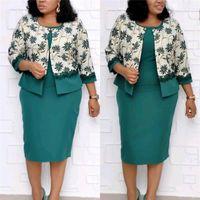 Мода цветочный принт кружева панелями женские кардиган одежда 2 шт. наборы платьев повседневная женская одежда плюс размер женские дизайнерские платья 2 шт.