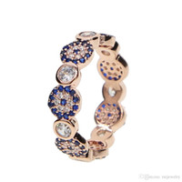 2019 New style evil ring HOT sale evil eye & hamsa finger ring luxury blue Cubic Zircon crystal rose gold delicate jewelry women stock Ring