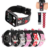 Dots Minni Micke Hello Kitt Cat Lederarmband für Apple Watch Series 4 3 2 1 Strap für iWatch 38 42mm 40 44mm Maus