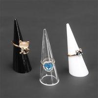 Anéis de plástico jóias de exibição Stand Holder Organizador acessórios para mulheres de jóias em rack yq01935 Preto Clear White