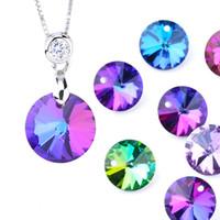 14 мм спутникового подвеска Кристалл подвески круглые стеклянные бусины для женских ювелирных украшений, делающих ожерелья DIY выводы серьги 12 шт. / Лот