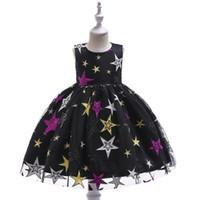 Princess Bez rękawów Suknia Balowa dla Dzieci Dzieci Cekiny Gwiazdy Sukienka Dla Dzieci Star Haft Suknie Party Prom Dress Prezent