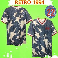 أمريكا الرجعية لكرة القدم جيرسي 1994 1995 كلاسيك لكرة القدم قميص خمر كاميسا دي فيوتول 94 95 المنزل الأزرق الفريق الوطني موحدة