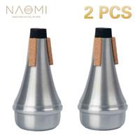 NAOMI Tromba Muto 2 Pz Tromba In Alluminio Muto Pratica Dritto Colore Argento Per Tromba Strumenti a fiato Accessori