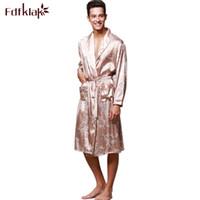 Fdfklak L-3XL der Männer silk Robe Nachtwäsche zu Hause Kleidung lange Hülse Frühling Herbst Bademantel Mann Nachtzeug Bademantel Kimono Männer plus Größe