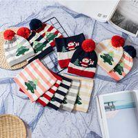 Bebek Noel Eşarp Topu Şapkalar Çocuk Noel ağacı Çizgili Eşarplar Caps Kardan Adam Örme Beanie Kafatası atkısı LJJA3555-13 Caps Isınma ayarlar