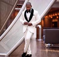New Custom Made cores marfim e preto entalhado lapela agradável Men casamento formal Ternos Noivo smoking clássico Fit noivo roupa Set