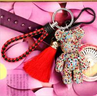 패션 귀여운 곰 술 열쇠 고리 크리스탈 다이아몬드 창조적 인 열쇠 고리 자동차 키 펜던트 만화 열쇠 고리