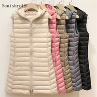 Sanishroly Herbst-Winter-Frauen-Sleeveless Weste mit Kapuze Midi Lange Ultra Light Daunenweste Weibliche Ente beschichten unten Parka S939 Tops