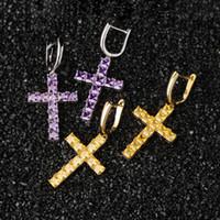 Full Colors Diamonds Women Dainty Cross Hoop Earrings Gold Plated CZ Stone Diamond Pave Earrings Cross Fashion Jewelry