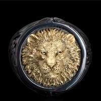 Prepotente oro - placcato Lion Head Two - anello di colore, europei e americani anello della lega d'argento, formato 6-13.