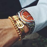 2 pçs / set homens pulseira pulseira pulseiras moda titanium steel para fios torcidos tipo c