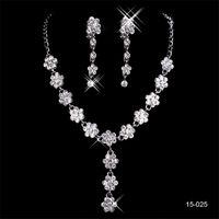 15025 Cheap Hot New mariage élégant de mariée bijoux en strass Collier boucles d'oreilles Bijoux Parti Party Bride