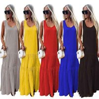 Women Desinger Maxi Dress Spring Summer long skirts Solid co...