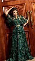 Охотник Темно-зеленые формальные вечерние платья с длинным рукавом 2019 Дубай арабский мусульманский кафтан Abaya 3D цветочные кружева