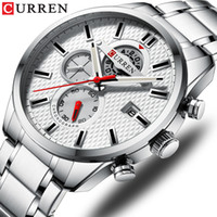 CURREN Moda causali orologi sportivi di lusso del Mens orologio al quarzo in acciaio inossidabile Cronografo e Data mani luminose da polso