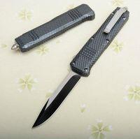 Couleur en fibre de carbone C07 Grand Couteau tactique automatique 440C oxyde noir + tréfilage lame Zn-Al en alliage poignée avec sac en nylon