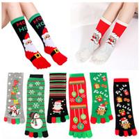 Weihnachten-Socken Damen-lustiger Cartoon-3D Printed Five Finger Socken Schneemann Sankt Warm Mid-Kalb langer Strumpf 10 freies Verschiffen der Farbe