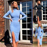 Vestidos casuales Moda Mujer Ropa 2021 MANUEVA MANUEVA MÁS TAMAÑO DE TAMAÑO VENDEDOR DE VENDEDOR VENDIENDO Faldas largas Slim Fit High Colllar