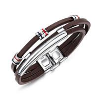 Nueva moda de cuero marrón pulsera para hombre joyería de acero inoxidable perlas de plata brazaletes Vintage accesorios masculinos regalos