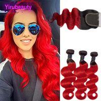 Extensões de cabelo virgem brasileiras 3 pacotes com fecho de renda 4x4 1b / vermelhos pacotes de onda de corpo com fecho de renda com cabelo de bebê 12-26inch