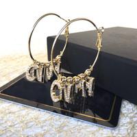 Avoir des timbres lettre de mode cerceau double diamant boucles d'oreilles pour les femmes Arêtes orecchini partie les amateurs de mariage bijoux cadeau pour la mariée avec la boîte
