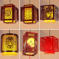 Китайский фонарь Деревянных подвесных светильников Гостиного Ресторан висячих лампы Чайного Aisle Балкон овчина лампа Декор Светильники