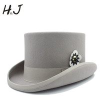 8746065635660f 13.5cm(5.3inch) Women Wool Steampunk Top Hat Lady Victorian Fedoras Hat  Beaver With Flower