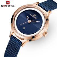 Señoras de las mujeres manera de los relojes del cuarzo de los NAVIFORCE marca de lujo regalo del reloj de pulsera a prueba de agua simple para Girl Relogio Femenino