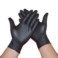 Gants en nitrile noir 100pcs / lot de 50 paires de qualité alimentaire étanche Allergy Free travail jetable Gants non médical sécurité Gants nitrile