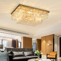 새로운 디자인 현대적인 창조적 인 사각형 L 90cm x 폭 70cm 크리스탈 샹들리에 조명 LED 천장은 방 침실 주방 섬 생활을위한 램프