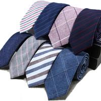 Mens Tie Narrow Version Cotton Linen Necktie Male 6cm Formal Wear Business Casual Professional Work Check Father's Boyfriend Gift