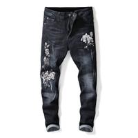 Flores Bordado Homens Denim Jeans Tornozelo-Leansth Bleached Plissado Em Linha Reta Magro Estiramento Masculino Cowboy Moda Casual
