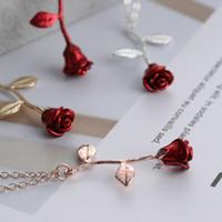 Collana pendente ciondolo fiore rosa rossa delicato fatto a mano in lega placcato fascino San Valentino regali gioielli moda donna LJJT859