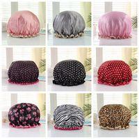 البولكا نقطة سميكة المرأة دش الحرير القبعات حمام ملون قبعات دش تغطية الشعر مزدوج للماء الاستحمام كاب