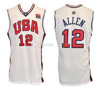 2000 Equipe Olímpica EUA Ray Allen # 12 Retro Basquetebol Jersey Mens costurado Personalizado Algum Número Nome Jerseys