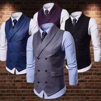 2020 Moda Çift Breasted Düğün Damat Yelek Groomsmen Yelek Erkek Takım Elbise Yelek Balo Blazers Elbise Akşam Parti Artı boyutu