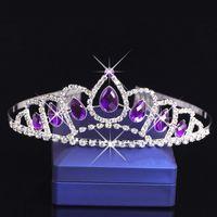 Violet Cristal Diamant Filles Headpieces Peignes Enfants Couronne Fleur Fille Strass Bébé Tête Pièces pour le Mariage Filles Accessoires Bandeau
