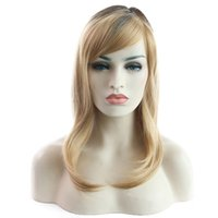 Hot selling women short hair wig 14 inch blonde ombre color ...