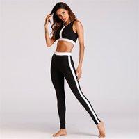 Kadın Eğitim Yoga Kıyafetler İki Adet Siyah Beyaz Çift Renkli Splice Çizgili Spor Bras Yelek Sıkı Pantolon Spor eşofman 55zc E19
