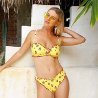 High Waist Bikini Sexy Women Leopard Swimsuit Print Flower S...