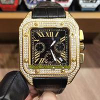 Nouveau luxe 45MM WGSA0017 W2SA0008 cadran noir Japon VK Quartz Mouvement Chronographe Mens Watch Diamonds or cas bracelet en cuir Montres Sport