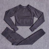 El yoga inconsútil de las mujeres Conjunto gimnasia ropa de deporte de cintura alta polainas Crop Top Trajes camisas deportivas Pantalones de entrenamiento activo desgaste T200115