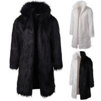 망 겨울 두꺼운 따뜻한 긴 코트 가짜 모피 단단한 두건 코트 전체 슬리브 느슨한 캐주얼 패치 워크 남성 의류