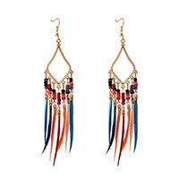 Summer Bohemia Boho Feather Long Tassel Earrings For Women Handmade Jhumka Jhumki Chain Beads Earrings Oorbellen