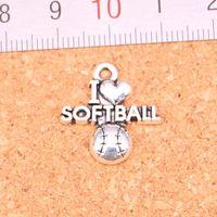 100pcs incanta amo softball placcati argento antico i pendenti che fanno DIY tibetano Handmade Silver Jewelry 21 * 19 millimetri