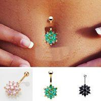 Seksi Vücut Takı Noel hediyesi 8 Renkler Piercing Çelik Göbek Düğme Yüzük Kristal Piercing Navel Piercing Navel Küpe Altın Göbek
