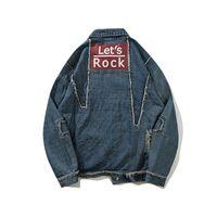 남성 재킷 패션 Casaul 찢어진 편지 인쇄 자켓 씻어 데님 레트로 자켓 하이 스트리트 스트리트 M-XXL