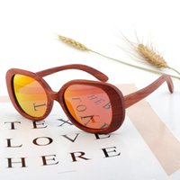 Fashion Oversized Guibourtia Wooden Bamboo Sunglasses For Wo...